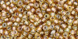 Toho 11/0 Round Japanese Seed Bead, TR11-279, Inside Color AB Light Topaz/Gray Lined