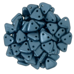 CzechMates Two Hole Triangle, Pearl Coat Steel Blue