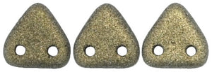 CzechMates Two Hole Triangle, Metallic Suede Gold