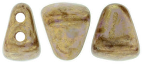 Nib-Bit Beads, Luster Opaque Gold/Smoky Topaz, 8 grams