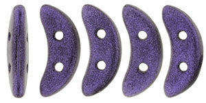 CzechMates Two Hole Crescent, Metallic Suede Purple