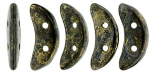 CzechMates Two Hole Crescent, Jet Bronze Picasso