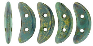 CzechMates Two Hole Crescent, Turquoise Bronze Picasso