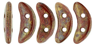 CzechMates Two Hole Crescent, Opaque Red Bronze Picasso