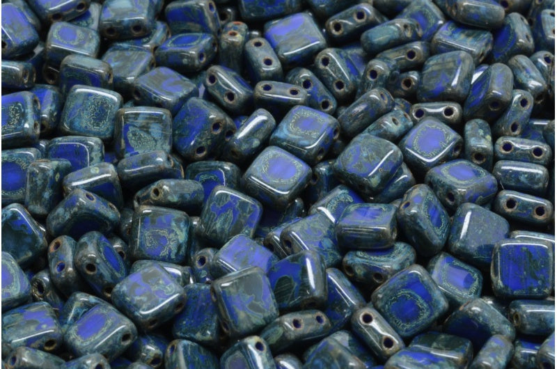6mm Square Glass Czech Two Hole Tile Bead, Opaque Blue Travertin