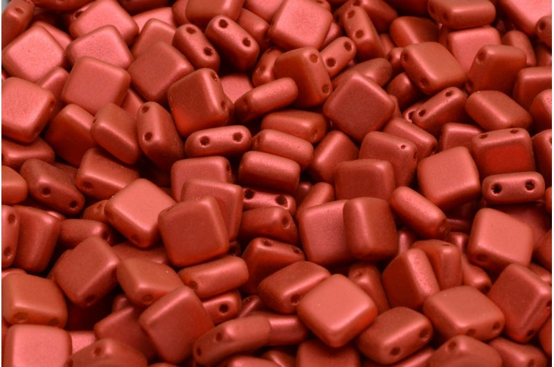 6mm Square Glass Czech Two Hole Tile Bead, Lava Red