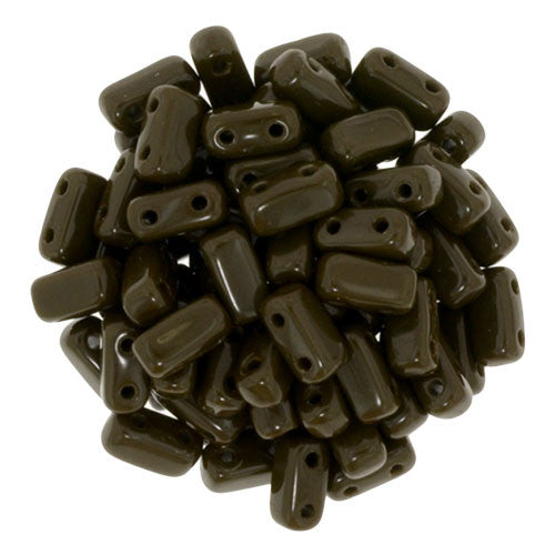 Czechmate 2mm X 6mm Brick Glass Czech Two Hole Bead, Chocolate Brown - Barrel of Beads