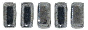Czechmate 2mm X 6mm Brick Glass Czech Two Hole Bead, Hematite - Barrel of Beads