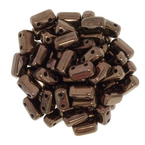 Czechmate 2mm X 6mm Brick Glass Czech Two Hole Bead, Dark Bronze - Barrel of Beads