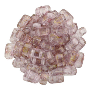 Czechmate 2mm X 6mm Brick Glass Czech Two Hole Bead, Luster Transparent Topaz/Pink - Barrel of Beads