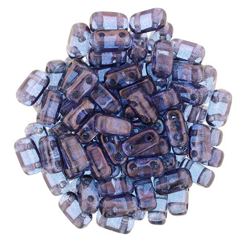 Czechmate 2mm X 6mm Brick Glass Czech Two Hole Bead, Luster Transparent Amethyst - Barrel of Beads