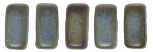 Czechmate 2mm X 6mm Brick Glass Czech Two Hole Bead, Matte Iris Brown - Barrel of Beads