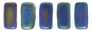 Czechmate 2mm X 6mm Brick Glass Czech Two Hole Bead, Matte Iris Blue - Barrel of Beads