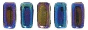 Czechmate 2mm X 6mm Brick Glass Czech Two Hole Bead, Iris Blue - Barrel of Beads