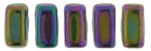 Czechmate 2mm X 6mm Brick Glass Czech Two Hole Bead, Iris Purple - Barrel of Beads