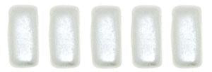 Czechmate 3mm X 6mm Brick Glass Czech Two Hole Bead, Pearl Coat - Snow