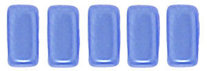 Czechmate 2mm X 6mm Brick Glass Czech Two Hole Bead, Pearl Coat - Baby Blue - Barrel of Beads