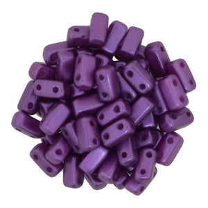 Czechmate 2mm X 6mm Brick Glass Czech Two Hole Bead, Pearl Coat - Purple Velvet - Barrel of Beads
