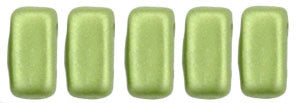 Czechmate 2mm X 6mm Brick Glass Czech Two Hole Bead, Pearl Coat - Olive - Barrel of Beads