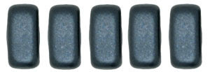 Czechmate 2mm X 6mm Brick Glass Czech Two Hole Bead, Pearl Coat - Charcoal - Barrel of Beads