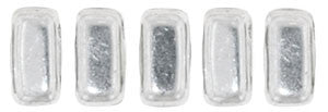 Czechmate 2mm X 6mm Brick Glass Czech Two Hole Bead, Silver - Barrel of Beads