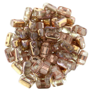 Czechmate 2mm X 6mm Brick Glass Czech Two Hole Bead, Apollo (Gold) - Barrel of Beads