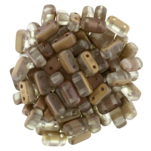 Czechmate 2mm X 6mm Brick Glass Czech Two Hole Bead, Matte Apollo Gold - Barrel of Beads