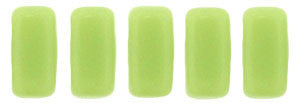 Czechmate 2mm X 6mm Brick Glass Czech Two Hole Bead, Honeydew - Barrel of Beads