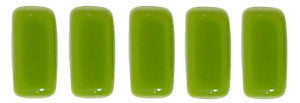 Czechmate 2mm X 6mm Brick Glass Czech Two Hole Bead, Opaque Olive - Barrel of Beads