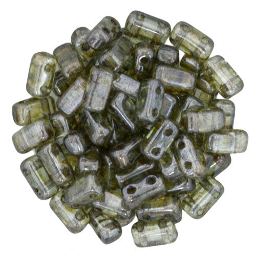 Czechmate 2mm X 6mm Brick Glass Czech Two Hole Bead, Luster Transparent Green - Barrel of Beads