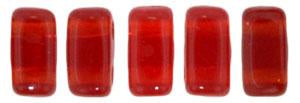 Czechmate 3mm X 6mm Brick Glass Czech Two Hole Bead, Siam Ruby