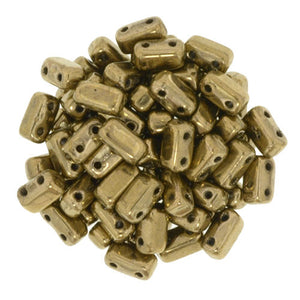 Czechmate 2mm X 6mm Brick Glass Czech Two Hole Bead, Bronze - Barrel of Beads
