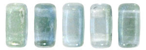 Czechmate 2mm X 6mm Brick Glass Czech Two Hole Bead, Dual Lustered Blue/Green - Barrel of Beads