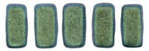 Czechmate 3mm X 6mm Brick Glass Czech Two Hole Bead, Polychrome - Aqua Teal