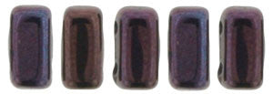 Czechmate 2mm X 6mm Brick Glass Czech Two Hole Bead, Luster Metallic Amethyst - Barrel of Beads