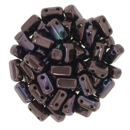 Luster Metallic Amethyst Czech 2-Hole Brick bead
