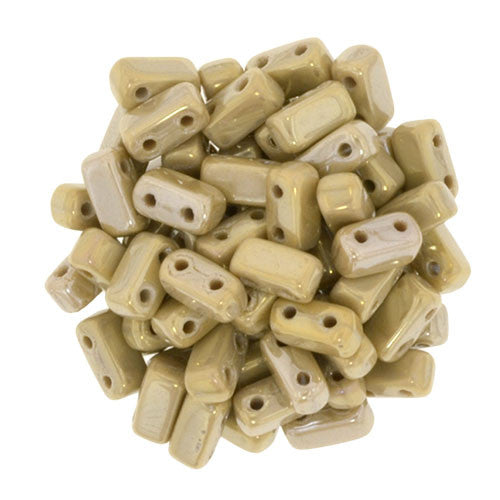 Czechmate 2mm X 6mm Brick Glass Czech Two Hole Bead, French Beige/Brown Iris - Barrel of Beads