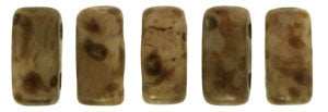 Czechmate 2mm X 6mm Brick Glass Czech Two Hole Bead, Opaque Lt Beige/Copper Picasso - Barrel of Beads