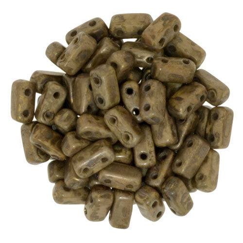 Czechmate 2mm X 6mm Brick Glass Czech Two Hole Bead, French Beige/Copper Picasso - Barrel of Beads