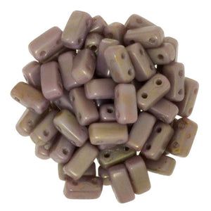 Czechmate 2mm X 6mm Brick Glass Czech Two Hole Bead, Ash Grey/Copper Picasso - Barrel of Beads