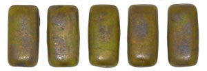 Czechmate 2mm X 6mm Brick Glass Czech Two Hole Bead, Opaque Olive/Copper Picasso - Barrel of Beads