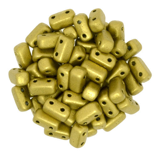 Czechmate 2mm X 6mm Brick Glass Czech Two Hole Bead, Matte Metallic Aztec Gold - Barrel of Beads