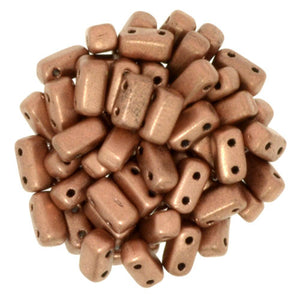 Czechmate 2mm X 6mm Brick Glass Czech Two Hole Bead, Matte Metallic Copper - Barrel of Beads
