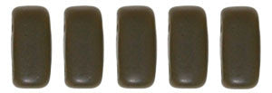 Czechmate 2mm X 6mm Brick Glass Czech Two Hole Bead, Matte Chocolate Brown - Barrel of Beads