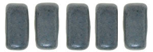 Czechmate 2mm X 6mm Brick Glass Czech Two Hole Bead, Matte Hematite - Barrel of Beads