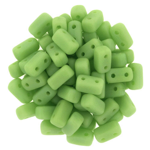 Czechmate 2mm X 6mm Brick Glass Czech Two Hole Bead, Matte Honeydew - Barrel of Beads