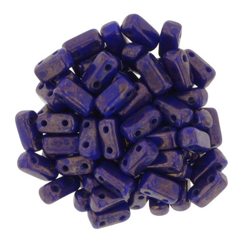 Czechmate 2mm X 6mm Brick Glass Czech Two Hole Bead, Indigo Moon Dust - Barrel of Beads