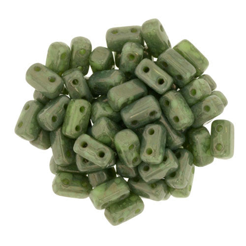Czechmate 2mm X 6mm Brick Glass Czech Two Hole Bead, Honeydew Moon Dust - Barrel of Beads
