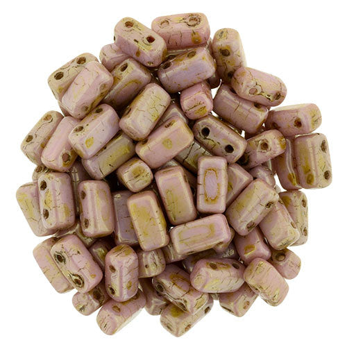 Czechmate 2mm X 6mm Brick Glass Czech Two Hole Bead, Luster Opaque Rose/Gold Topaz - Barrel of Beads