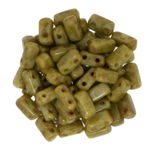 Czechmate 2mm X 6mm Brick Glass Czech Two Hole Bead, Ash Grey Picasso - Barrel of Beads